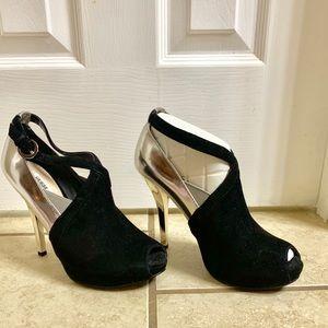 Guess peep toe stiletto heels, size 7.5.